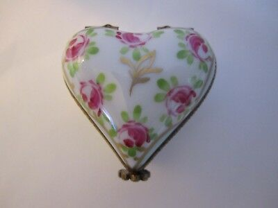 Marked and Numbered LIMOGES Peint Main PUFFED HEART Ring/Trinket Box