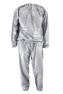Heavy Duty Fitness Weight Loss Sweat Sauna Suit Exercise Gym Anti-Rip Silve L9K8