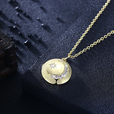 Hammered Moon Necklace Gold Plated Chain Brass Crescent  Pendant