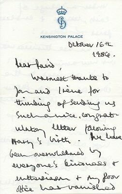Prince Harry's Birth- Prince Charles hand written letter dated 1984