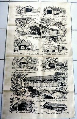 "Vintage Linen Cloth Wall Hanging old bridge's 30""x 17"".minty"