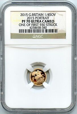 Gold 2015 Great Britain 1/4 Sovereign   NGC PF70UCAM One of the First 550 Struck