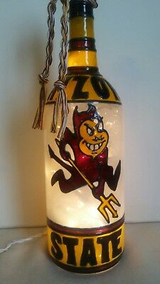Arizona State inspired Bottle Lamp hand painted lighted
