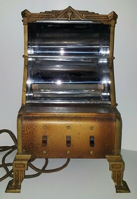 Markel Neo Glo Heater Antique Art Deco Decorated Brass 3 Switch Model A130 VTG