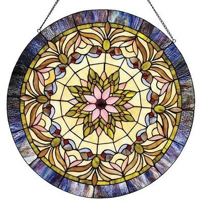 Stained Glass Panel Victorian Window Panels Sun Catcher Round Tiffany Style Art