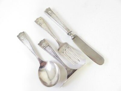 Vintage Abc Kitty Pattern Webster Sterling Baby Flatware Set Htf 4 Pc