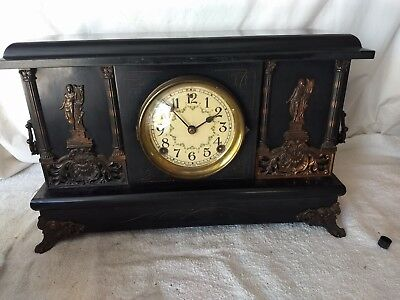 Antique Sessions Mantle Clock w/ Chime & Gong Statue w/ Lyre Floral Clock Dial