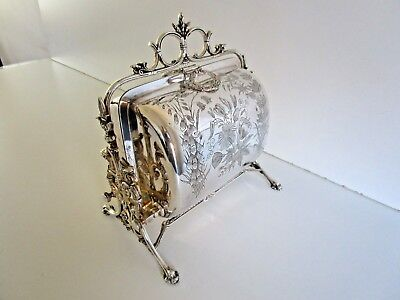 Victorian Silver Plated Folding Biscuit Box, Sheffield Circa 1880