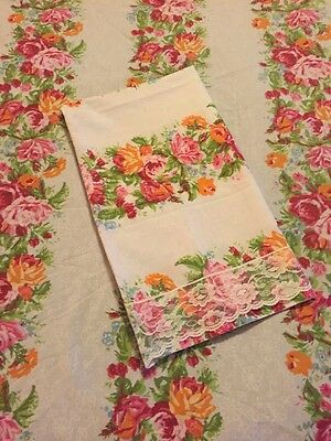Vintage Twin Fitted Sheet With Lace Pillowcase Floral Shabby Cottage