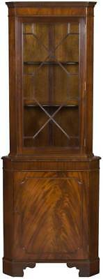 Straight Front Antique Style Mahogany Corner Cabinet Cupboard Hutch English