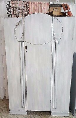 Vintage White Distressed Armoire/Wardrobe made in Great Britain