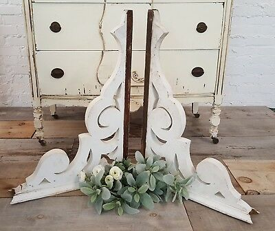 "Set of 2 Antique Victorian White Wood Corbels Brackets Salvaged 29"" Large Set"