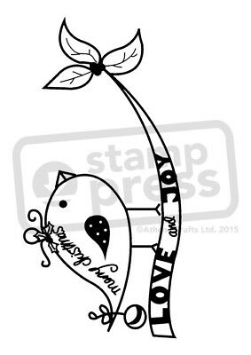 A7 'Merry Christmas Bird' Unmounted Rubber Stamp (SP00001562)