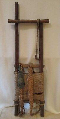 """Ancient Antique Asian Wood Frame Backpack Carrier 50"""""""