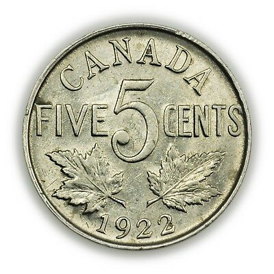 Canada KM#29 1922 5 Cents, Nice Coin, George V [3818.03]
