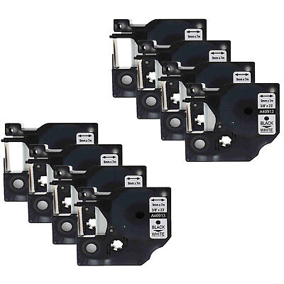 8 PK Black on White 40913 Tape For Dymo D1 LabelManager 280 450 Label Makers 9mm