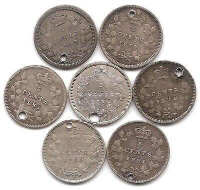Canada Silver 5 Cents 1858, 1870, 1871, 1872 H, 1874 H, 1880 H & 1881 H