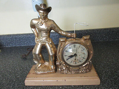 Vintage United Cowboy With Rotating Lasso Western 1950s Self Starting Clock
