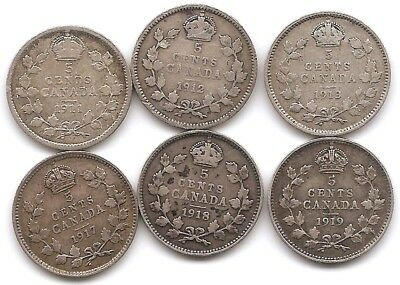 Canada Lot of 6 Silver 5 Cents Coins 1911, 1912, 1913, 1917, 1918 & 1919
