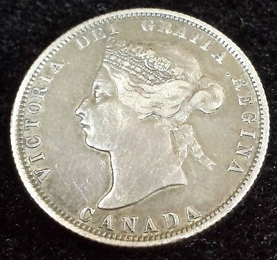 Canada Silver 1872 H 25 Cents Coin in Higher Grade