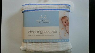 NEW Aden & Anais for Target Baby Changing Pad Cover 100% Cotton Blue Stripe Boys