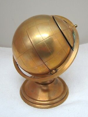 Vintage World Globe Metal Cigarette Stand Holder Copper Tone Metal