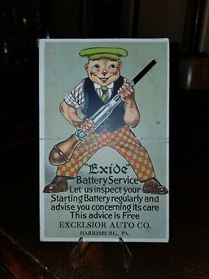 Rare Exide Battery Excelsior Auto Co. Harrisburg Pa Trade card Postcard Stand up
