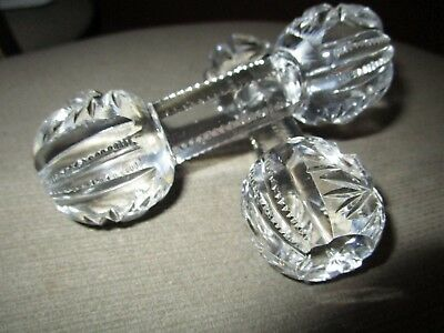 Vintage Set Of 2 Crystal Dumb Bell Knife Rests