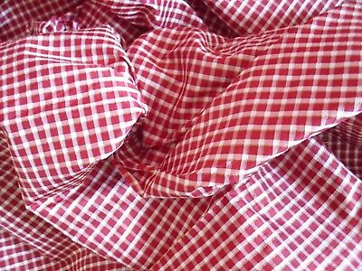 """Silk Paper Taffeta Red Cream and Yellow Gingham Weave 5.25 YDS 54"""" W Never Used"""