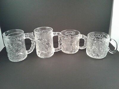 Batman Forever Movie glass mugs from McDonald's 1995 Complete set of 4