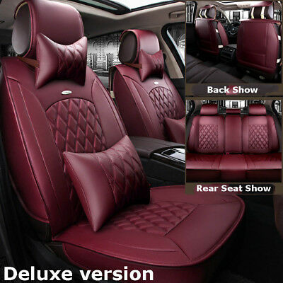 Wine Red Luxury Car Microfiber Leather Seat Covers Cushion Front+Rear+Pillows