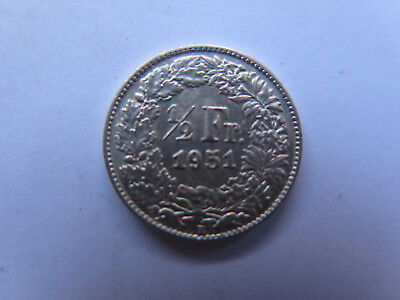1951 B SWITZERLAND SILVER 1/2 FRANC COIN in EXCELLENT COLLECTABLE CONDITION EF+