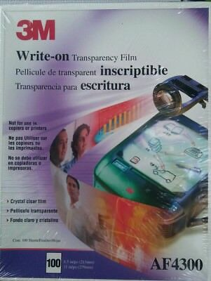 """3M Write-On Transparency Film 100 Sheets 8.5 x 11"""" AF4300 for Projectors"""