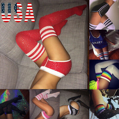 US Fashion Women Warm Cotton Thigh High Long Stockings Knit Over Knee Girl Socks