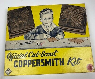 1956 Vintage Official Cub Scout Coppersmith Kit Boy Scouts of America