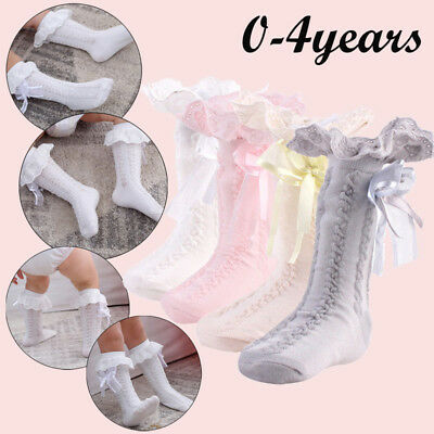 0-4 Years Toddler Kid Baby Girl Knee High Long Socks Bow Cotton Casual Stockings