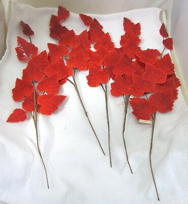 "Vintage Orange Hard Waxed 11 Leaves Ea Maple 5 Stems 2 1/4 & 1 1/2"" Corsage T86"