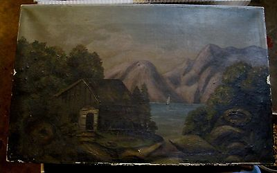 Vintage Original Painting on Canvas Cabin Lake Boat Trees Mountain Wood Strecher