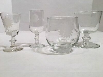 Vtg NATIONAL AIRLINES Four Glasses First Class Bar Service Etched Sunking 1960