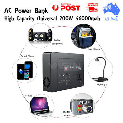 Portable Power Bank High Capacity AC DC Power Bank 200W, Real 46000mah 230V
