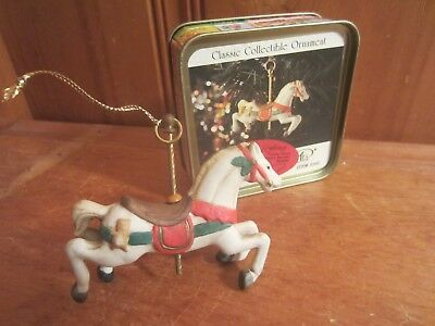 Vintage Christmas Ceramic Carousel Horse Classic Collectible Ornament In Tin EUC
