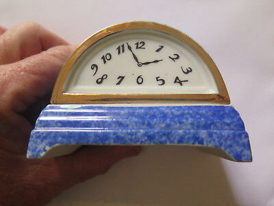 CHINA INKWELL c1930s AS A SMALL MANTLE CLOCK in EXCELLENT CONDITION