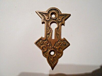 Antique Victorian Fancy Brass Eastlake Victorian Key Hole Keyhole Cover~Exquisit