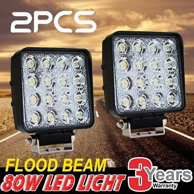 2x Square 80W LED Work Light Flood Lamp Offroad Tractor Truck 4WD SUV 12V 24V BS
