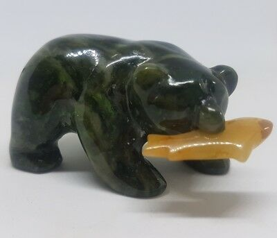 Cassiar Jade Grizzly Bear & Fish. Hand Carved Statue/ Figure & Presentation Box