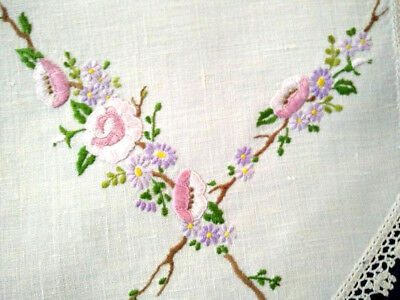 Gorgeous Flower Blossom branches  ~ Vintage Hand embroidered Centrepiece