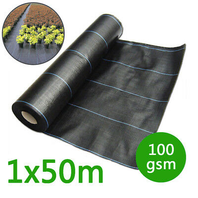 1M×50M100gsm Weed Control Fabric Ground Cover Membrane Landscape Garden Cropland