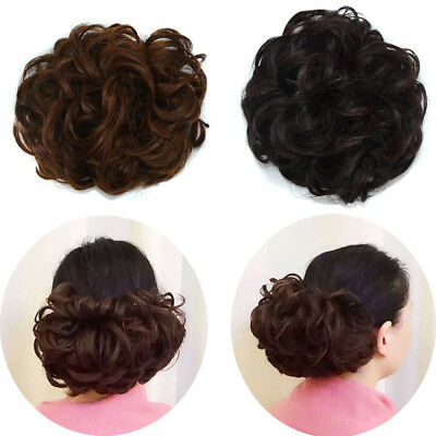 Women Curly Wavy Fluffy Bun Updo Clip in Hair Extensions Chignon with Drawstring