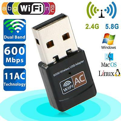 Dual Band 600Mbps USB WiFi Wireless Dongle AC600 Lan Network Adapter 2.4GHz 5GER