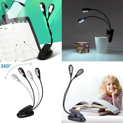 2 Stück USB 4 LED Clip-on Leselampe Buchlampe Lampe Klemmleuchte Buch Licht